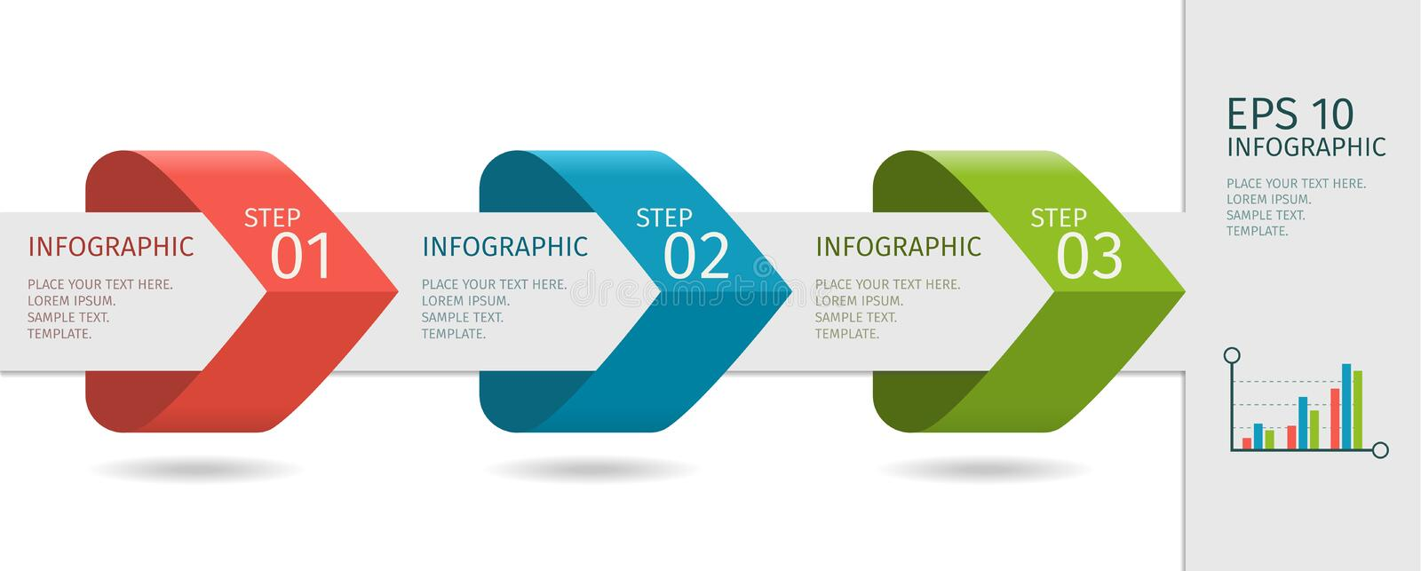 Infographic arrows with step up options. Vector template in flat design style. vector illustration