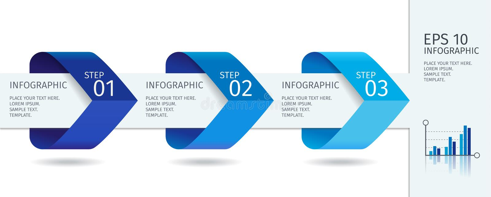 Infographic arrows with step up options. Vector template in flat design style royalty free illustration