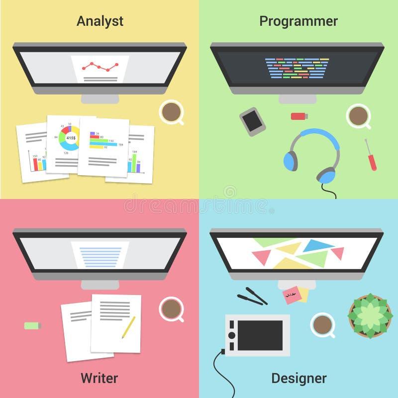 Infographic autônomo Trabalho com portátil Programador web, designer gráfico, analista e escritor Trabalhos autônomos ilustração royalty free