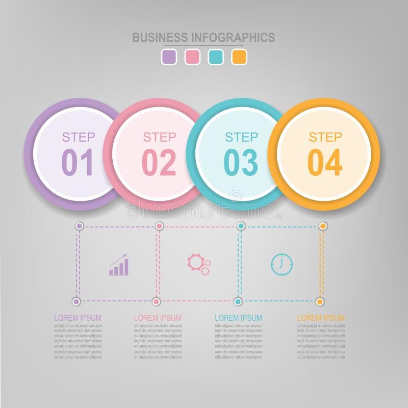 Infographic av cirkelbeståndsdelen, lägenhetdesign av affärssymbolsvektorn vektor illustrationer