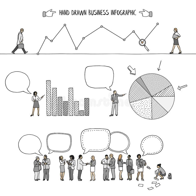 Infographic avec de petits gens d'affaires illustration stock