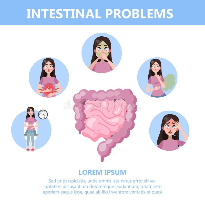 Infographic avec des problèmes d'intestin Femme avec digestif illustration de vecteur