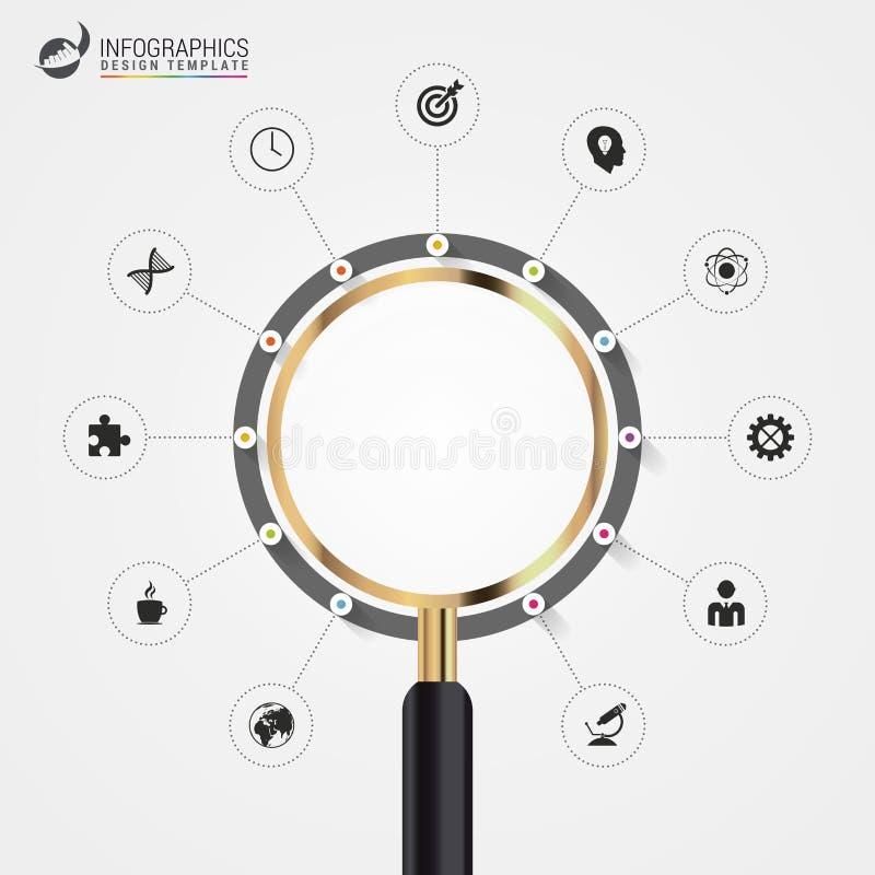 Infographic avec la loupe Concept d'affaires Vecteur illustration de vecteur