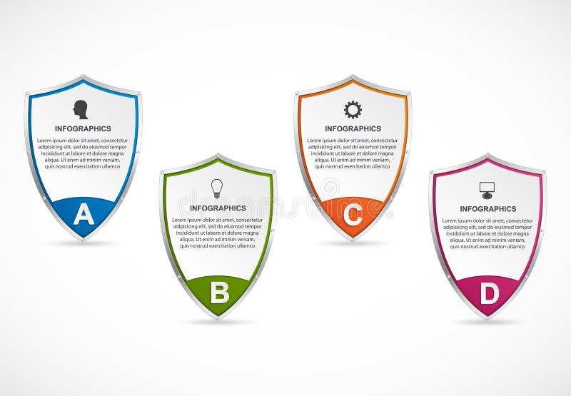 Infographic avec le bouclier de sécurité Infographics pour la bannière de présentations ou d'information d'affaires illustration de vecteur