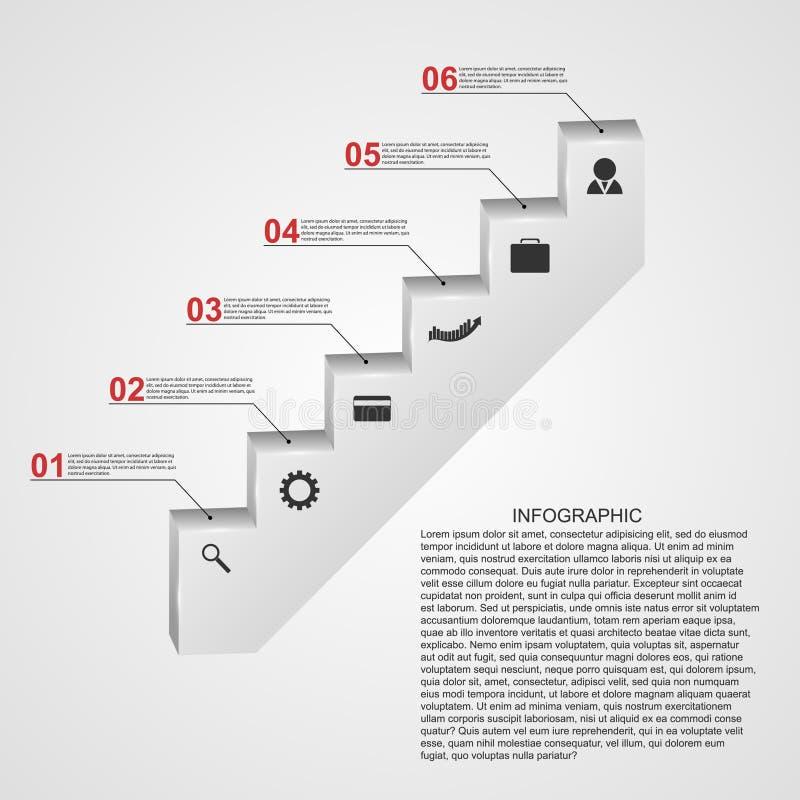 Infographic bajo la forma de concepto de diseño de las escaleras de los pasos libre illustration