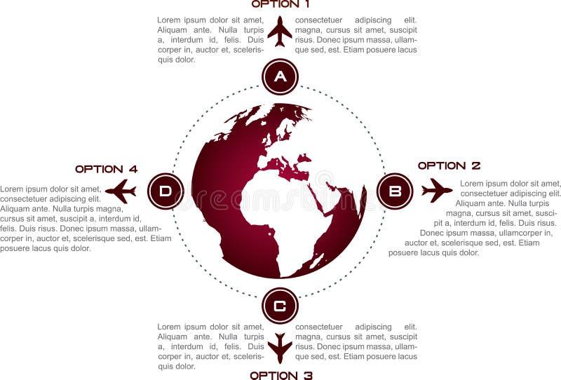 Infographic bakgrund med jordklot- och flygplansymboler fotografering för bildbyråer