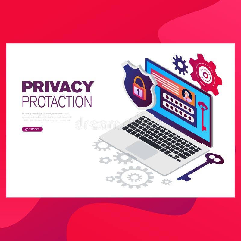 Infographic, bandera con el héroe protege datos y confidencialidad Seguridad y protección de datos confidencial stock de ilustración