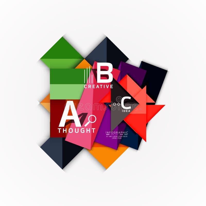 Infographic baner för abstrakt geometriskt alternativ, en momentprocess för b c vektor illustrationer