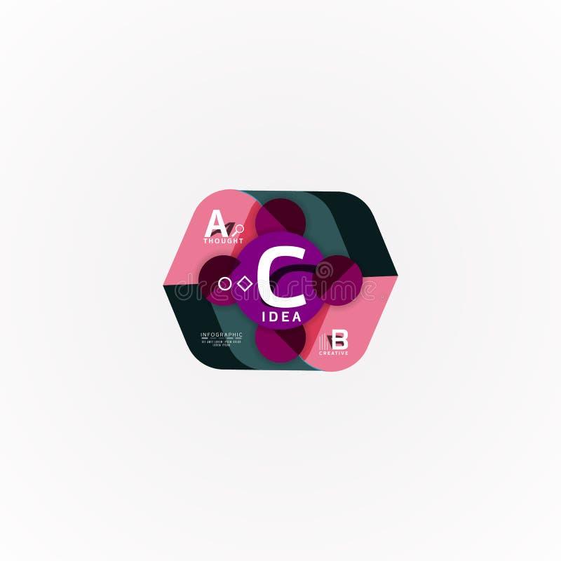 Infographic baner för abstrakt geometriskt alternativ, en momentprocess för b c stock illustrationer