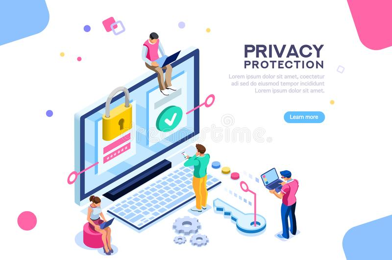 General Data Protection Confidentiality Banner. Infographic, banner with hero protect data and confidentiality. Safety and confidential data protection, concept vector illustration