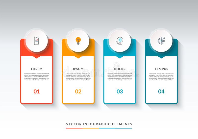 Infographic banner with 4 options. Vector template stock illustration