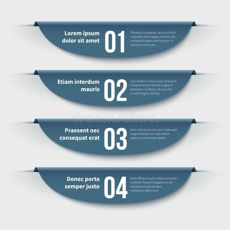 infographic banners 3d kleurrijke etiketten met stappen en opties Informatie grafisch voor lay-out en presentatie Beeldverhaal po royalty-vrije illustratie
