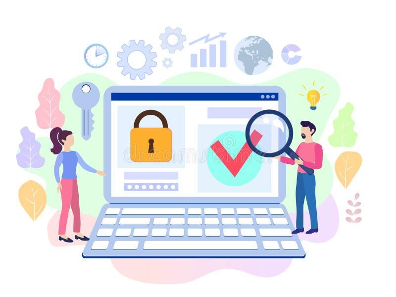 Infographic, bannière avec protègent des données et la confidentialité sûr illustration libre de droits