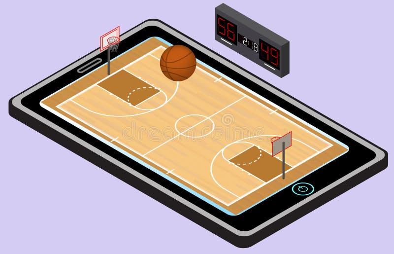Infographic-Basketballspielplatz, -ball und -tablette Isometrisches Basketballbild Getrennt lizenzfreie abbildung