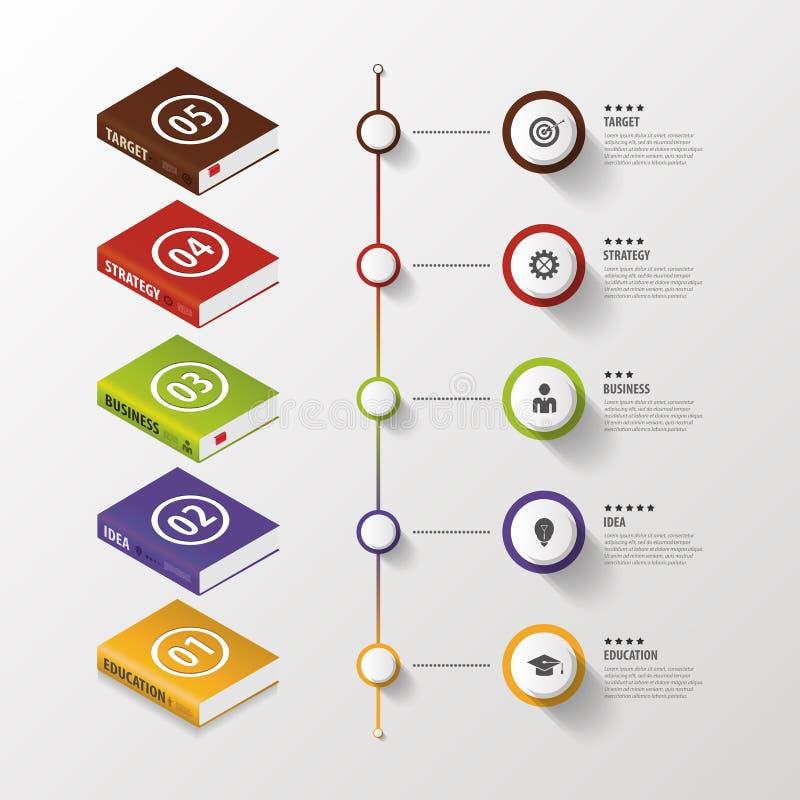 Infographic Bedrijfsboeken Kleurrijke cirkel met pictogrammen Vector royalty-vrije illustratie