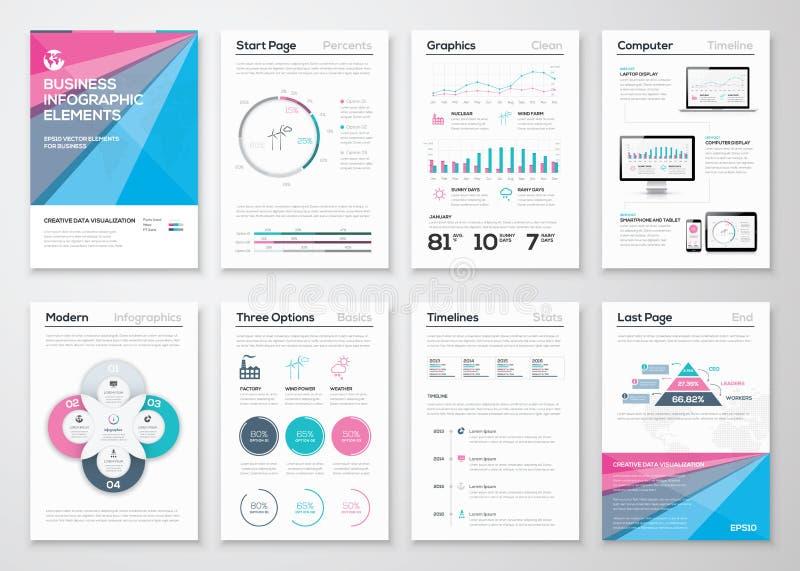 Infographic bedrijfsbrochuremalplaatjes voor gegevensvisualisatie