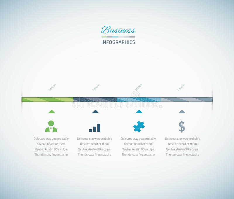 Infographic bedrijfschronologie met vectorpictogrammen royalty-vrije illustratie