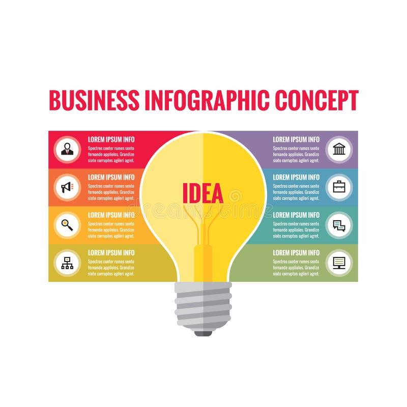 Infographic bedrijfsconcept - creatieve ideeillustratie - vector gele lamp en gekleurde strepen met pictogrammen vector illustratie