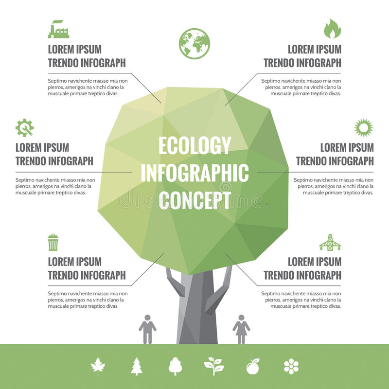 Infographic Bedrijfsconcept Ecologie met Pictogrammen royalty-vrije illustratie