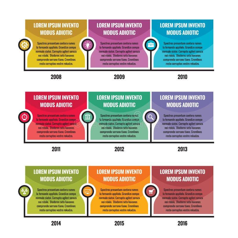 Infographic bedrijfsconcept in vlakke ontwerpstijl - chronologie vectormalplaatje stock illustratie