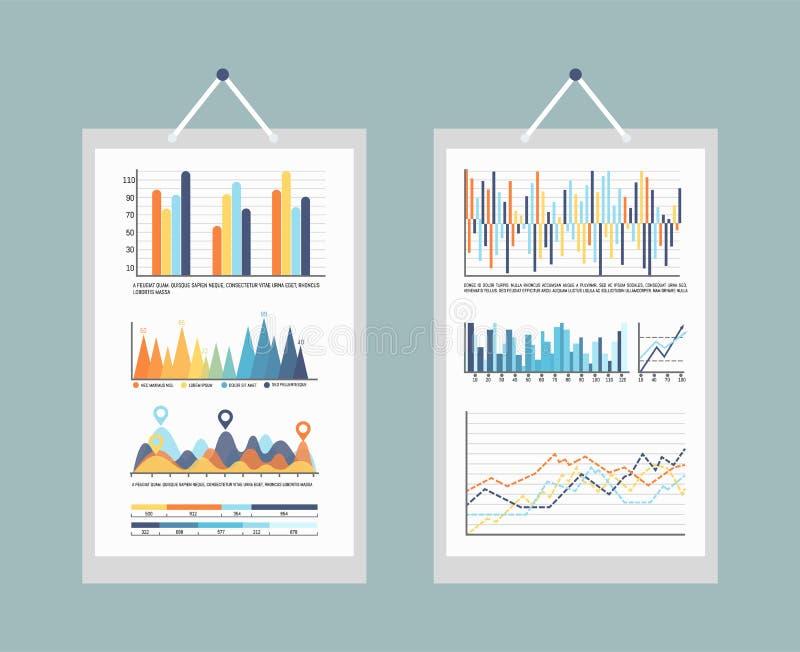 Infographic Bedrijfsgrafieken en Grafieken met Informatie vector illustratie