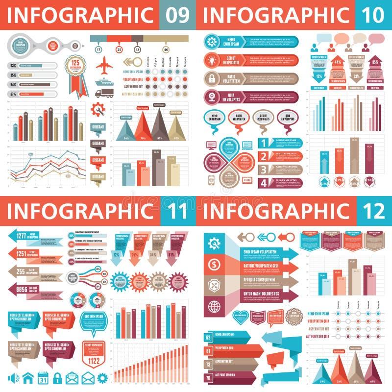 Infographic bedrijfsontwerpelementen - vectorillustratie De inzameling van het Infographmalplaatje Creatieve grafische reeks stock illustratie