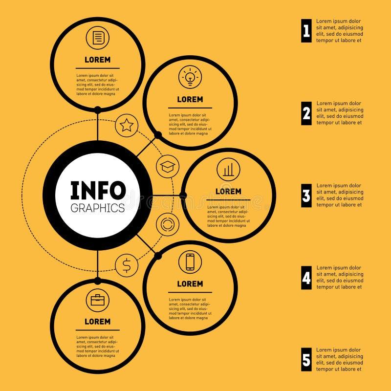 Infographic of Bedrijfspresentatie met 5 opties Web Templat royalty-vrije illustratie