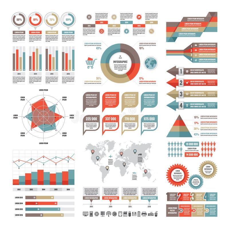 Infographic begrepp för affär - vektoruppsättning av infographic beståndsdelar i plan design stock illustrationer