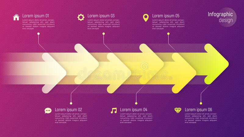 Infographic begrepp för pappers- stiltimeline med dynamiska pilar på royaltyfri illustrationer