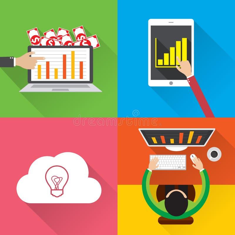 Infographic begrepp för plan modern vektorillustration för design av digitalt marknadsföringsmassmedia, affärsfinansinvestering m vektor illustrationer