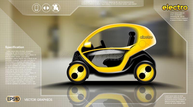 Infographic begrepp för realistisk elbil 3d Affisch för Digital vektorelbil med symboler E-kommers affär royaltyfri illustrationer