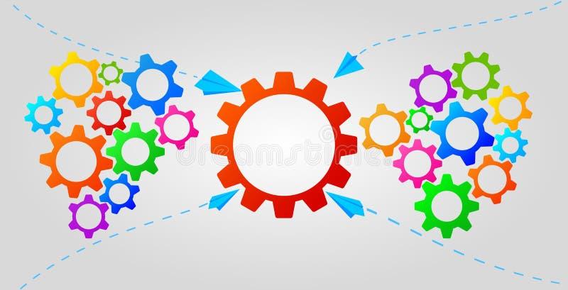 Infographic begrepp för teamwork med färgrika kugghjulsymboler Affärsstrategi, ledarskap Id? av partnerskap och samarbete royaltyfri illustrationer