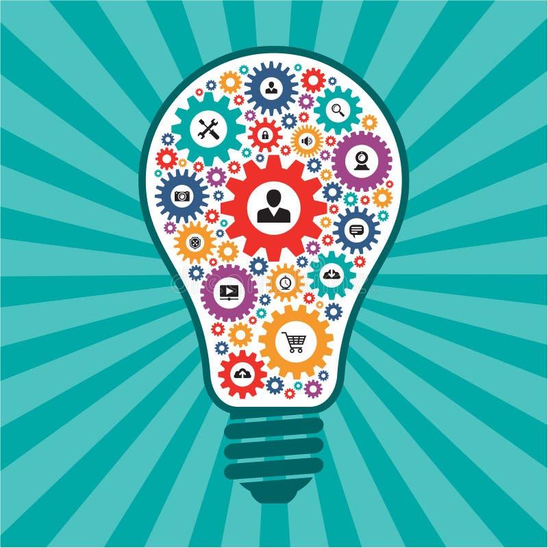 Infographic begrepp - idérik idévektorlampa - SEO-symboler i formen av ljusa kulor stock illustrationer