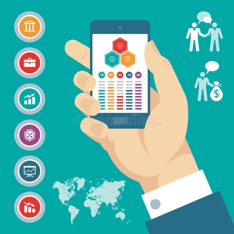Infographic begrepp med mobiltelefonen i hand- & vektoraffärssymboler. stock illustrationer