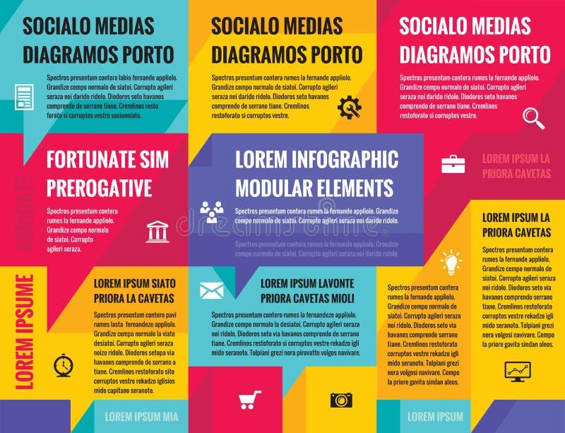 Infographic begreppsorientering för affär för presentation, häfte, website och annat designprojekt royaltyfri illustrationer