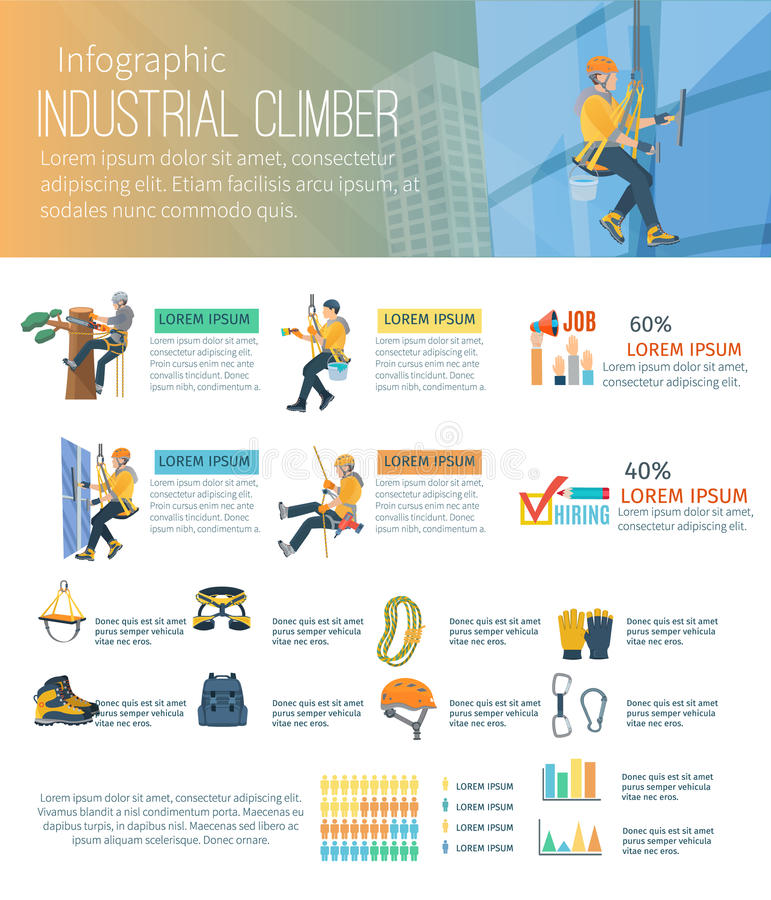 Infographic-Bergsteiger-Illustration lizenzfreie abbildung