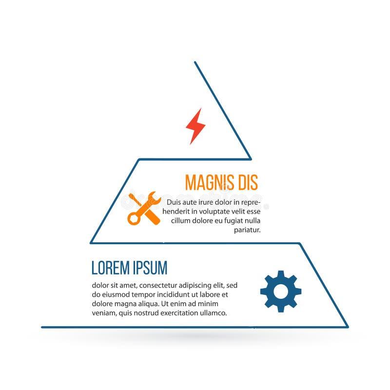 Infographic beståndsdel för översiktstriangel Linjärt plant diagram, diagram, intrig, graf med 3 moment, alternativ, delar, proce royaltyfri illustrationer