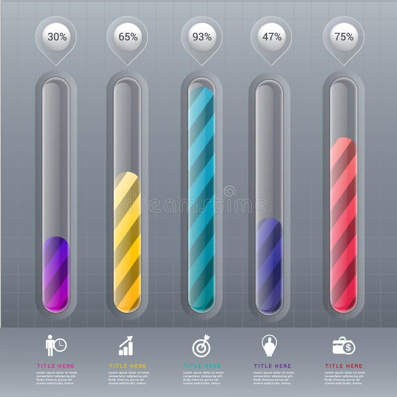 Infographic beståndsdel för abstrakta procentdata för diagram 3D royaltyfri illustrationer