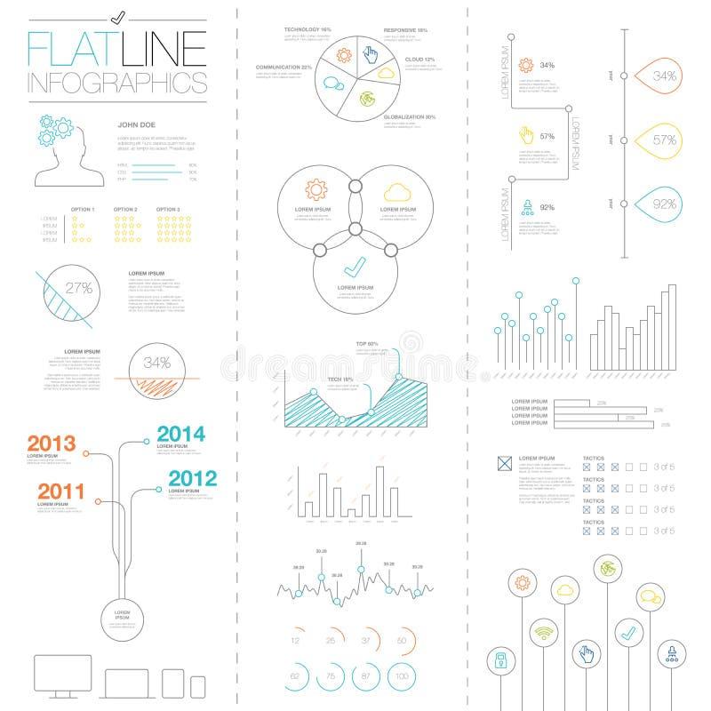 Infographic beståndsdelar för lägenhet och för enkel lätt färgrik översikt royaltyfri illustrationer