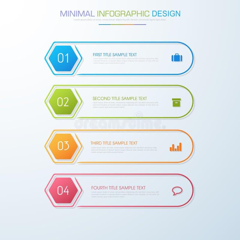 Infographic beståndsdelar med affärssymbolen på bakgrundsprocess för full färg eller moment och alternativworkflowdiagram, vektor royaltyfri illustrationer