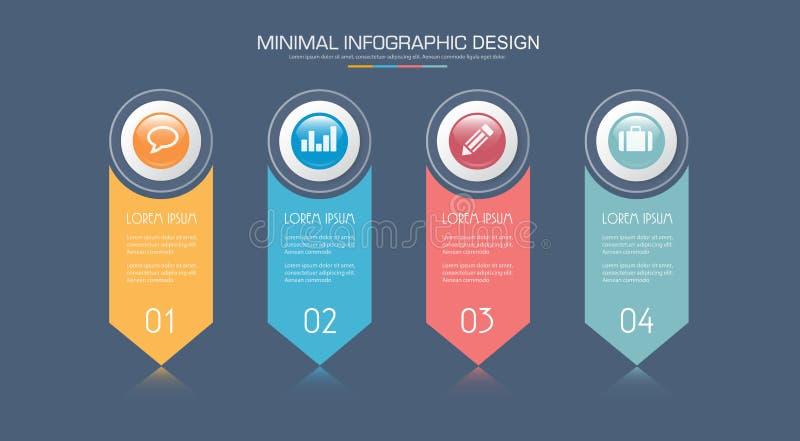 Infographic beståndsdelar med affärssymbolen på för bakgrundscirkel för full färg process eller moment och alternativworkflowdiag royaltyfri illustrationer