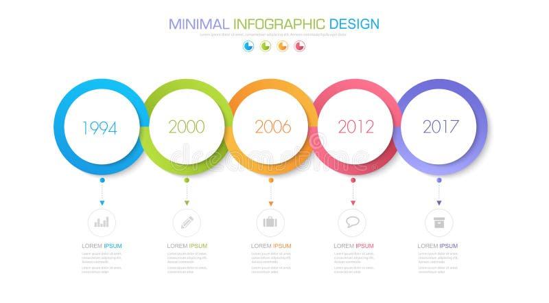 Infographic beståndsdelar med affärssymbolen på för bakgrundscirkel för full färg process eller moment och alternativworkflowdiag vektor illustrationer