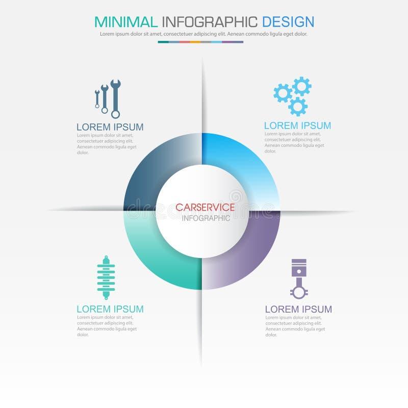 Infographic beståndsdelar med servicesymbolen på för bakgrundscirkel för full färg process eller moment och alternativworkflowdia royaltyfri illustrationer