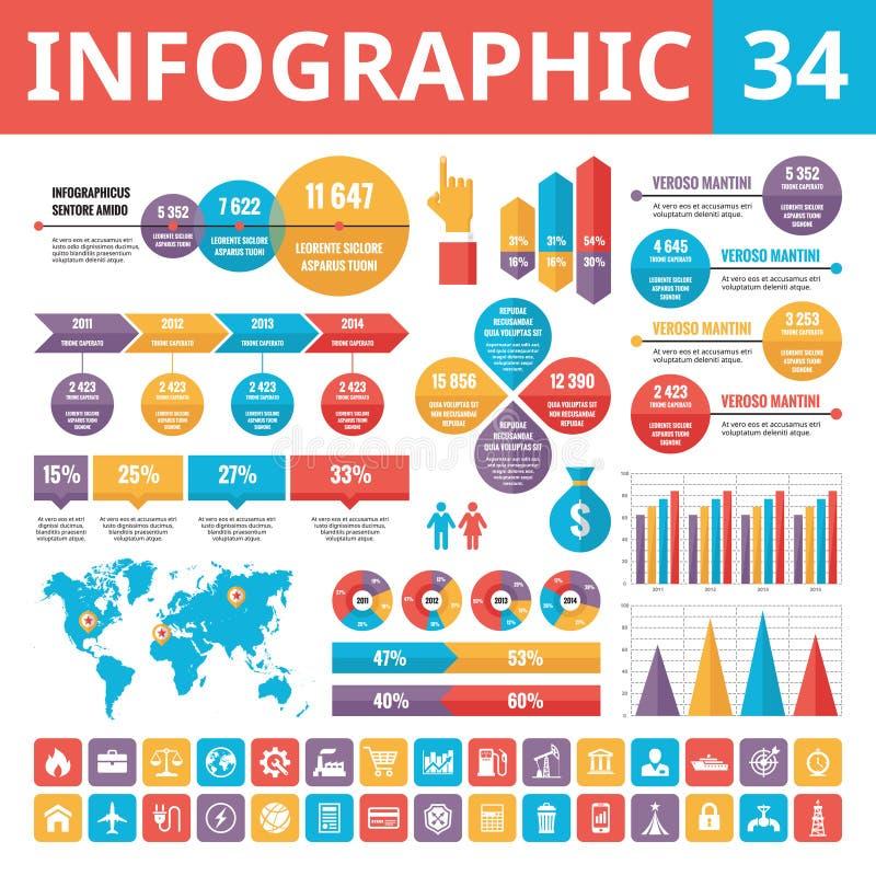Infographic beståndsdelar 34 Uppsättning av vektordesignbeståndsdelar i plan stil för affärspresentation, häfte, webbplats och pr royaltyfri illustrationer
