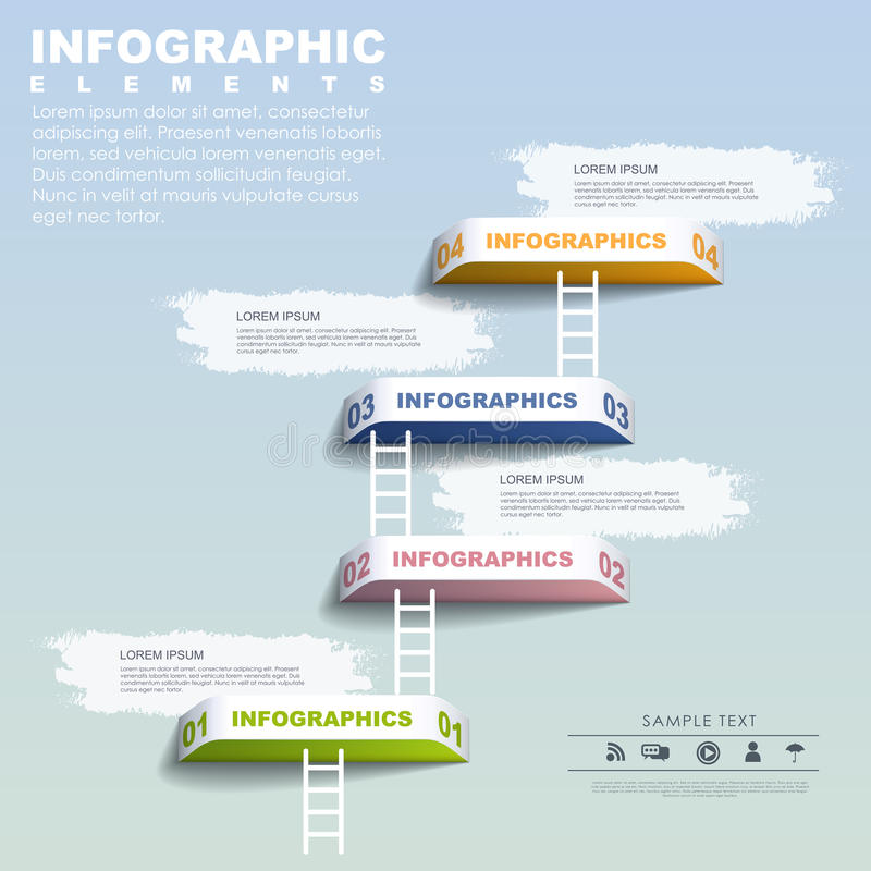Infographic beståndsdelmall för steg-för-steg begrepp royaltyfri illustrationer
