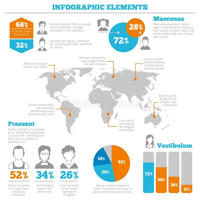 Infographic beståndsdelorientering för Avatar stock illustrationer
