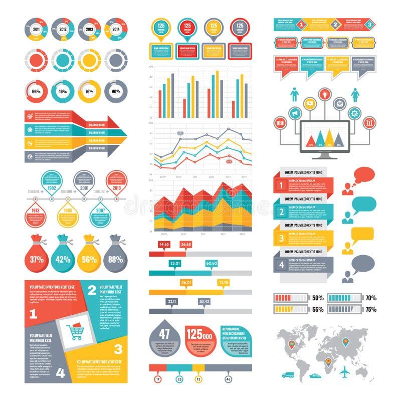 Infographic beståndsdelsamling - affärsvektorillustration i plan designstil stock illustrationer