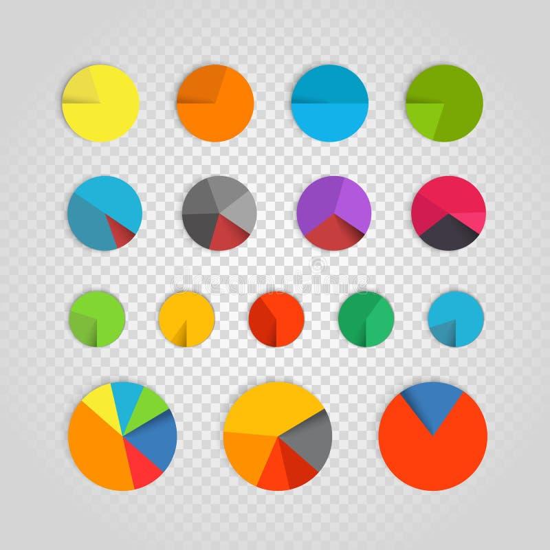 Infographic beståndsdelsamling Färgcirkeldiagram vektor illustrationer