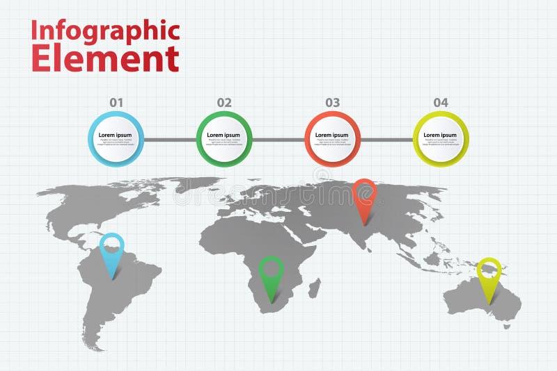 Infographic beståndsdelvärldskarta Infographics med olikt alternativ 4 royaltyfri illustrationer