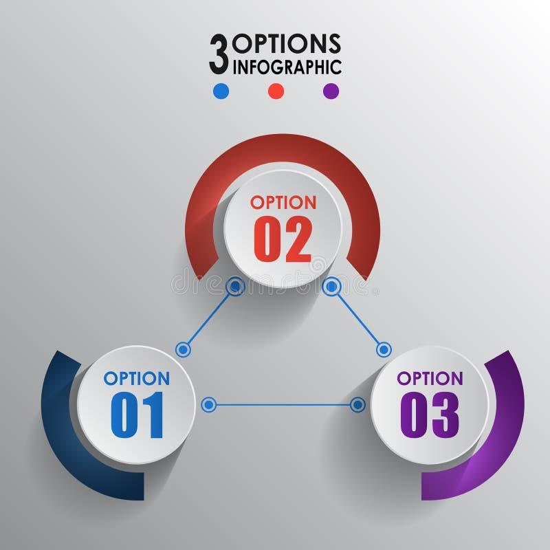 Infographic beståndsdelvektor med 3 cirkelmodeller för alternativ vektor illustrationer